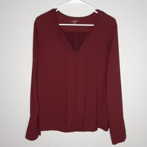 Loft Maroon Polyester / Rayon Back Button Blouse